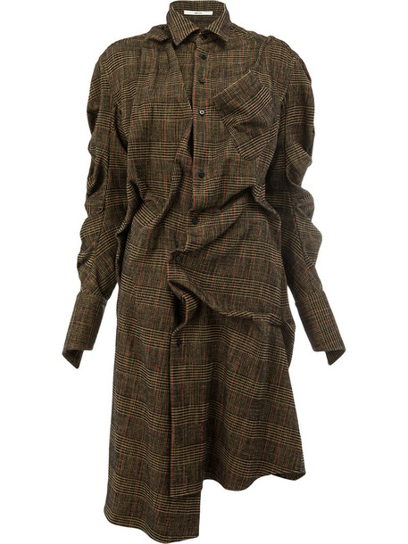 Aganovich dress shirt dress women plaid wool brown
