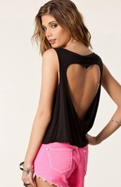 t-shirt,black,cut-out,heart,tank top,top,solid color,heart shaped,heart top,heart tank top,casual,black tank top,cute top,back heart,open back,open back top,zaful,brandy melville,brandy melville black tank topp,jewels,accesoires,sleeveless,pink denim shorts,denim shorts,pink,summer,black and pink,summer outfits