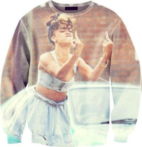 sweater rihanna denim we found love music sweatshirt blue