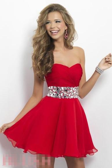 red dress homecoming dress cocktail dress crystal dress