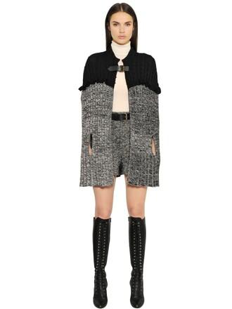 cape knit wool black grey top