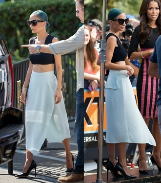 nicole richie top sunglasses skirt wrap skirts crop tops