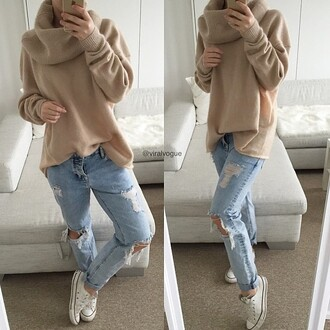 shirt winter outfits sweater brown beige cute jeans