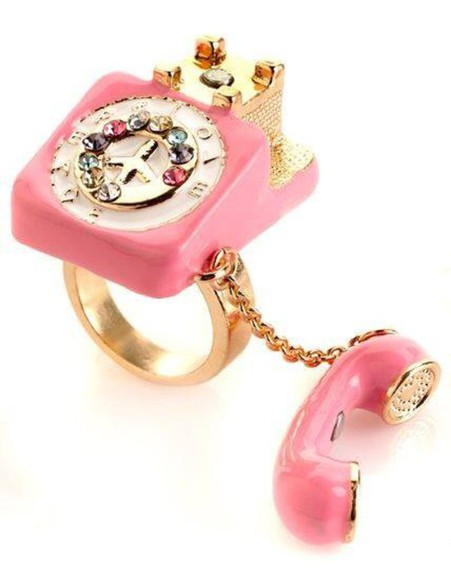 jewels phone ring rings and tings gold pink rhinestones