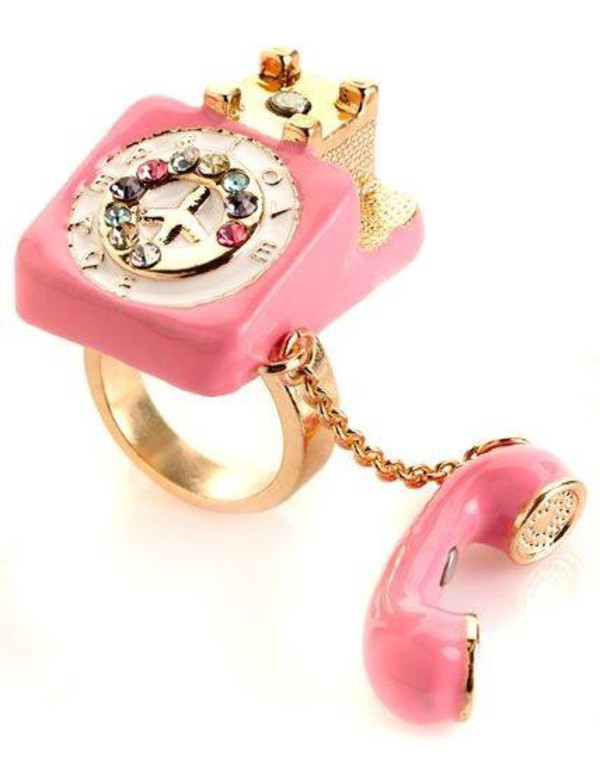 jewels ring rings and tings gold phone pink rhinestones