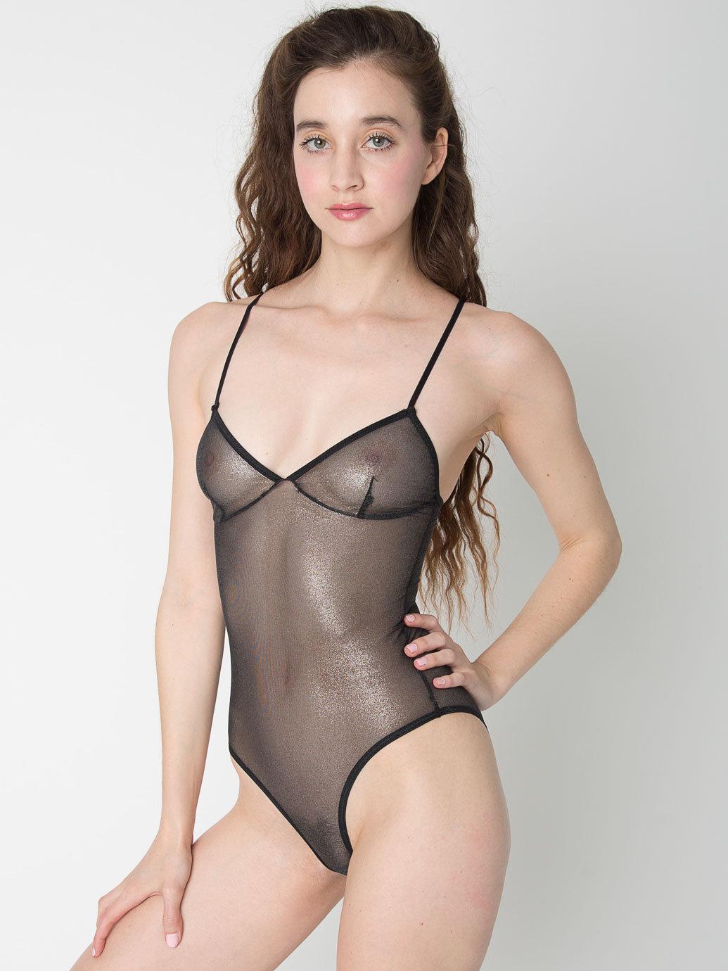 shiny mesh bra bodysuit american apparel
