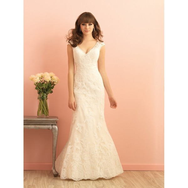 dress gown wedding dress high-low dresses allure bridals 9016 vintage lacee