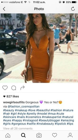 dress orange dress bodycon dress mini dress plunge v neck