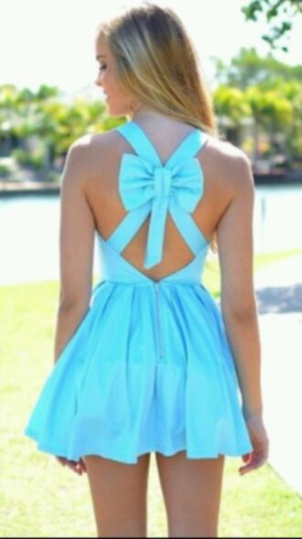 dress light blue bow on the back