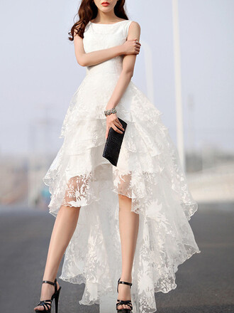 dress mynystyle prom dress white dress classy style trendy stylish prom gown white fashion asymmetrical asymmetrical dress lace summer romantic summer dress elegant beautifulhalo girly asymetric sweater maxi dress spring