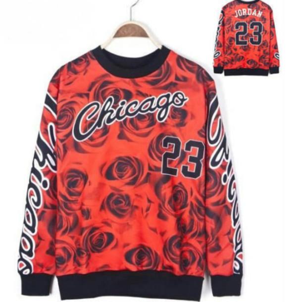 sweater roses chicago bulls 23 Jordan jordans