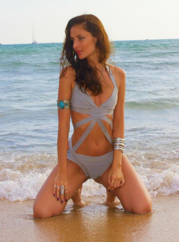 swimwear bandage bikini beach 2014