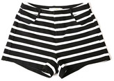 Womens black and white striped shorts