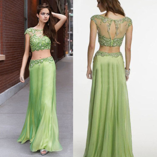 Aliexpress.com : Buy 2 Pieces Prom Dresses Fashion Appliques Lace With See Through Long Prom Dress 2016 Elegant Green Chiffon A Line Party Prom Gown from Reliable lace up womens boots suppliers on YiLianYiSheng Wedding Dresses