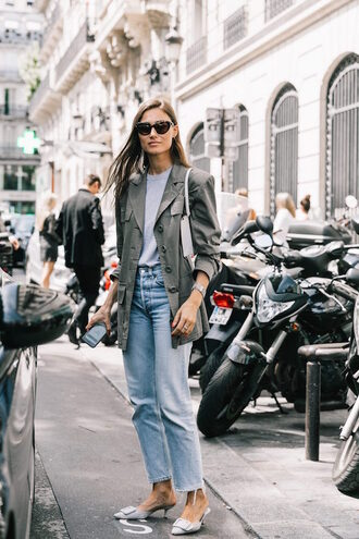 lefashion blogger sunglasses t-shirt jacket jeans shoes tumblr mules grey shoes denim blue jeans blazer white t-shirt