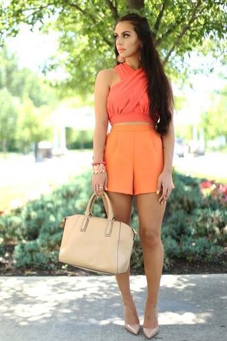 shorts orange orange shorts crop tops summer outfits ootd shorts cute shorts neon neon shorts high waisted shorts