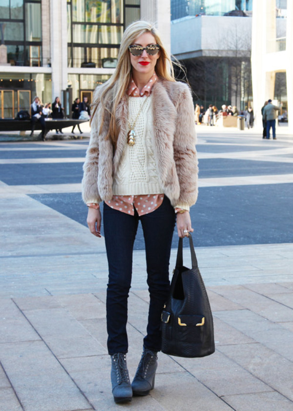 coat boots bag shirt jacket knitwear necklace blouse