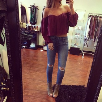 blouse burgundy top off the shoulder