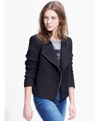 jacket black zip asymmetrical