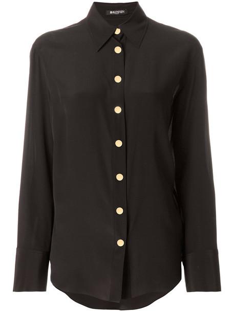 Balmain shirt women embellished silk brown top