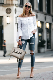 fashionjackson,blogger,top,jeans,shoes,bag,sunglasses,jewels,shirt,tumblr,white shirt,off the shoulder,off the shoulder top,denim,skinny jeans,ripped jeans,pumps