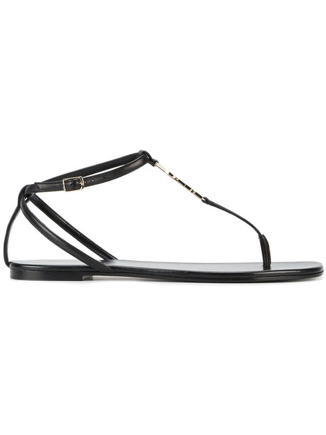 Saint Laurent women sandals leather black shoes