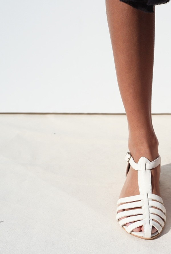 shoes flat sandals flats white leather summer