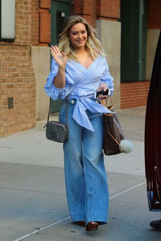 blouse jeans flare jeans hilary duff streetstyle fall outfits
