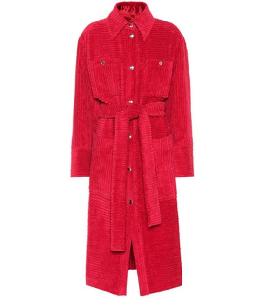 Acne Studios Corduroy cotton trench coat in pink