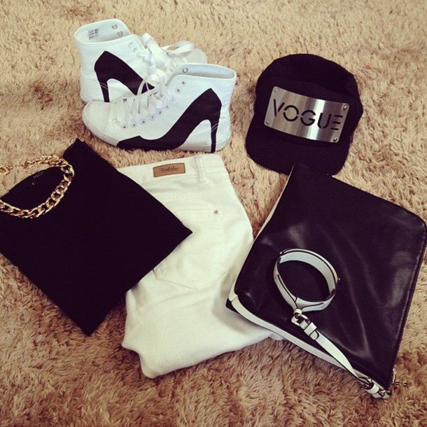 shoes dope ootd fashion sneakers kicks pumps stilettos black white b&w bag hat jeans shirt