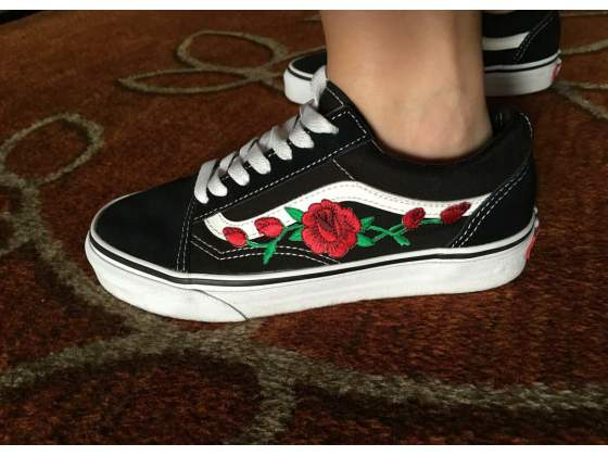 vans old school with a rose