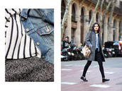 fake leather,blogger,striped sweater,denim jacket,grey coat,coat,jacket,jeans,shoes,bag,sweater,make-up