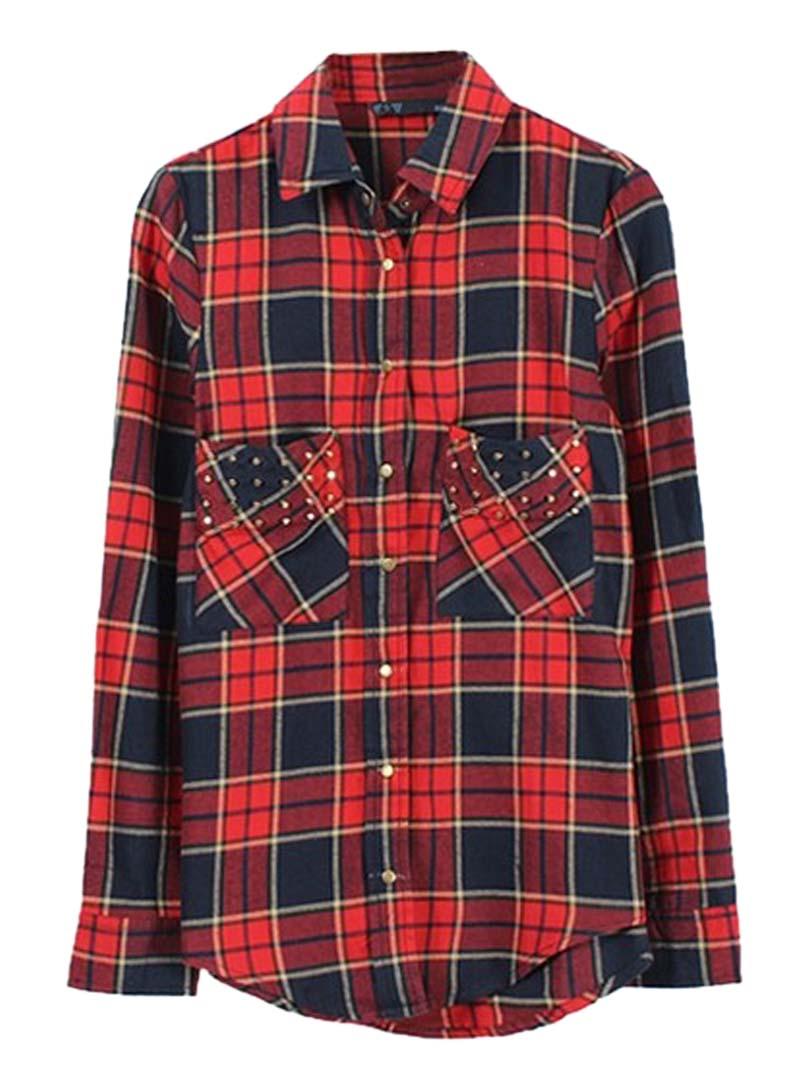 Check Shirt With Stud Pocket - Choies.com