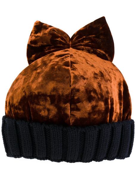 bow beanie velvet yellow orange hat
