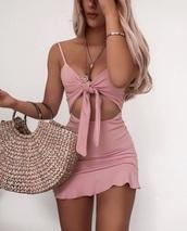 dress,pink,pink dress,light pink,light pink dress,summer,summer outfits,summer dress,spring,mini dress,sleeveless,sleeveless dress,cut-out,ruffle dress,bow tie dress,bow