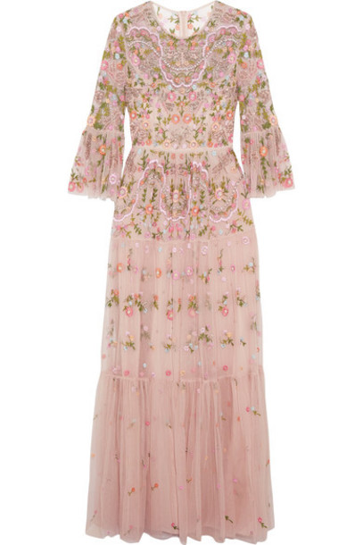 8299046100 Needle & Thread Needle & Thread - Dragonfly Embellished Embroidered Tulle Maxi  Dress - Blush