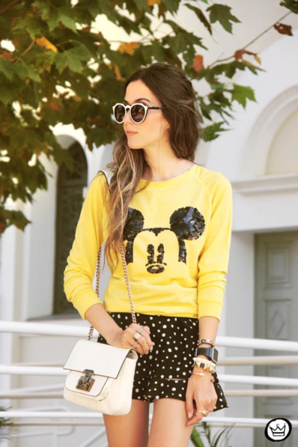 fashion coolture sweater skirt bag jewels sunglasses