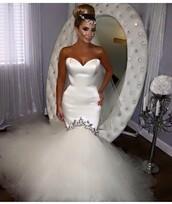 dress,wedding dress,wedding,wedding accessories,bridal gown,bridal dresses,bride dresses,white,white dress,gown,gorgeous,amazing,queen,lady,satin dress,mermaid wedding dress,sweetheart neckline,sweetheart dress,sweetheart bridal gowns,princess dress,swarovski