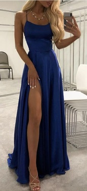 dress,ball gown dress,navy,royal blue,evening dress,slit dress,prom dress,blue navy dress,blue,silk,blue dress,prom,gown,satin,backless