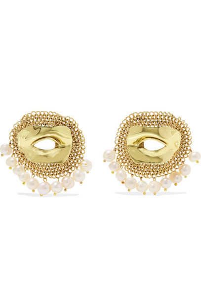 Ellery - Pedigree Xl Eye Gold-tone Pearl Earrings