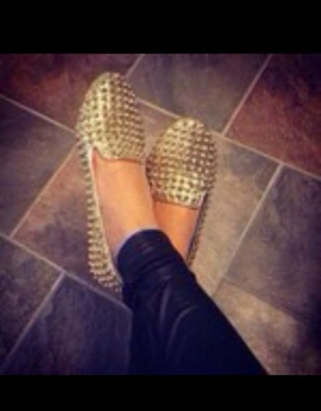 shoes spiked shoes gold spiked