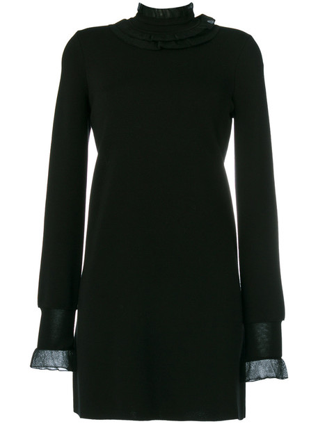 Ermanno Scervino dress knitted dress ruffle women cotton black wool