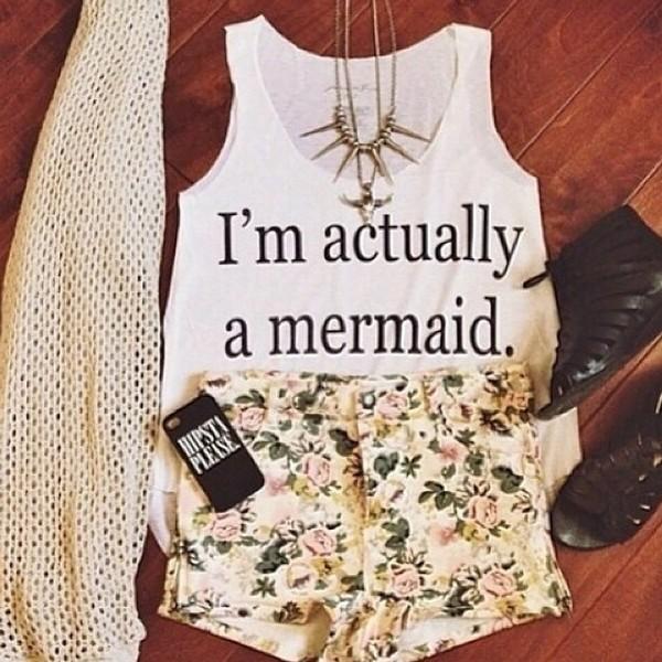 blouse top mermaid shirt flowered shorts flowers flowers short green
