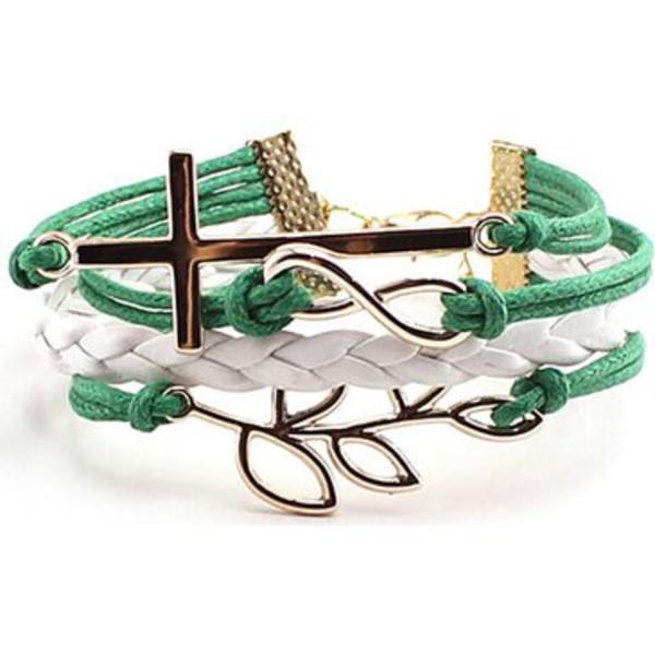 jewels cross leaf bracelet\ cross leaf