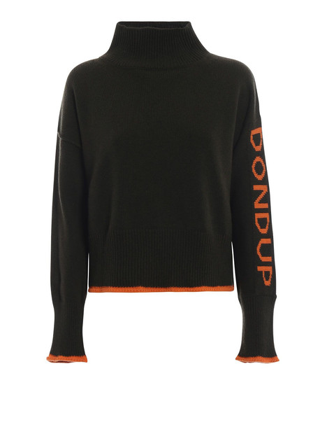 Dondup Pullover With Contrasting Logo Knit in green