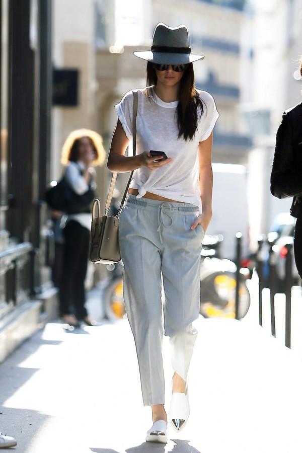 kendall jenner shoes hat white top grey hat celine celine bag white flats grey pants flats pants