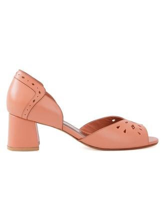 heel chunky heel women pumps yellow orange shoes