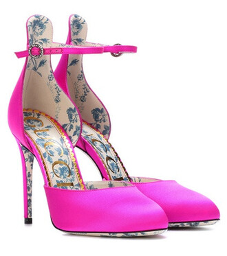 pumps satin pink shoes