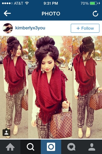 cute hairstyles fashion scarf velvet red fringes pretty