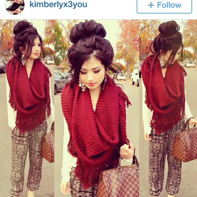 scarf cute fashion ootd bun red velvet thick kimberly fall fringes messy bun pretty scarf red